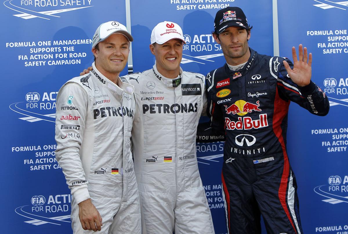 2012 Monaco Grand Prix nico rosberg, michael schumacher, mark webber