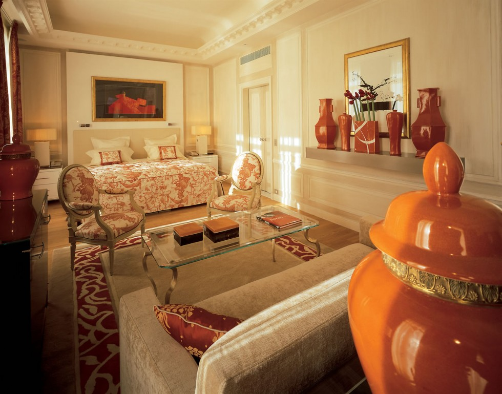 Hotel Hermitage Monte Carlo Suite with Burnt Orange Accents