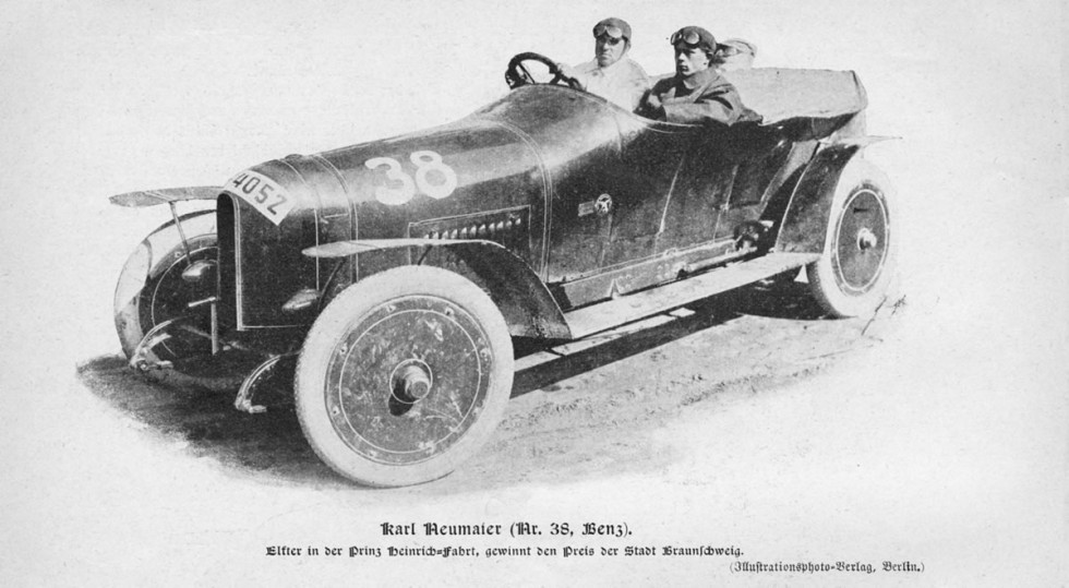 "Benz ""Prinz Heinrich car"" from 1910. Image from the ""Allgemeine Automobil-Zeitung"" (AAZ) magazine, No. 23, 1910. This special touring car was driven by Carl Neumaier in the legendary long-distance race in June 1910. Equipped with four-valve technology, the 4-cylinder engine developed 59 kW (80 hp) from its 5.7-litre displacement"