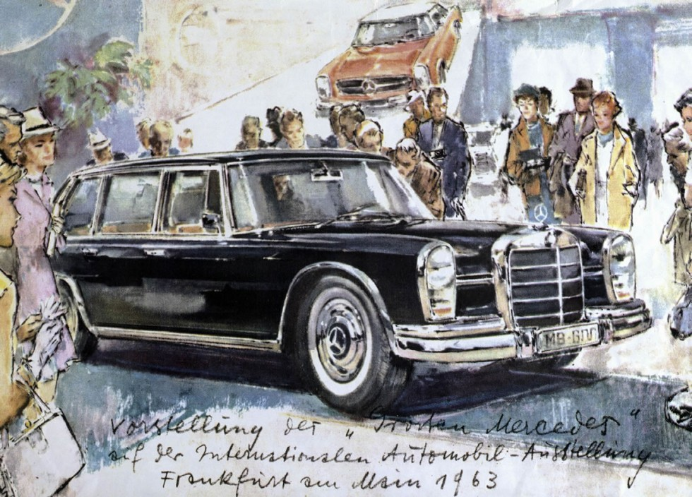 Premiere in grand style: The Mercedes-Benz 600 made its debut at the 1963 International Motor Show – illustrated by the well-known graphic artist Heinz Liska