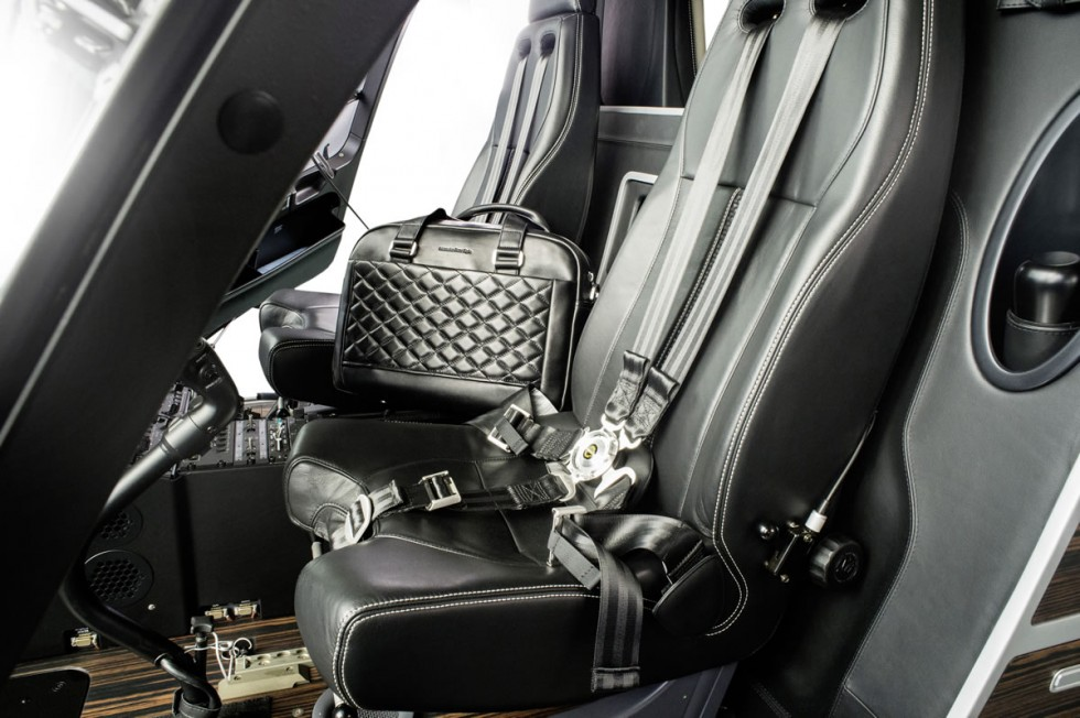 Interior of the Mercedes-Benz Style EC145 helicopter (cockpit) and Mercedes-Benz Style Leather & Luggage Collection