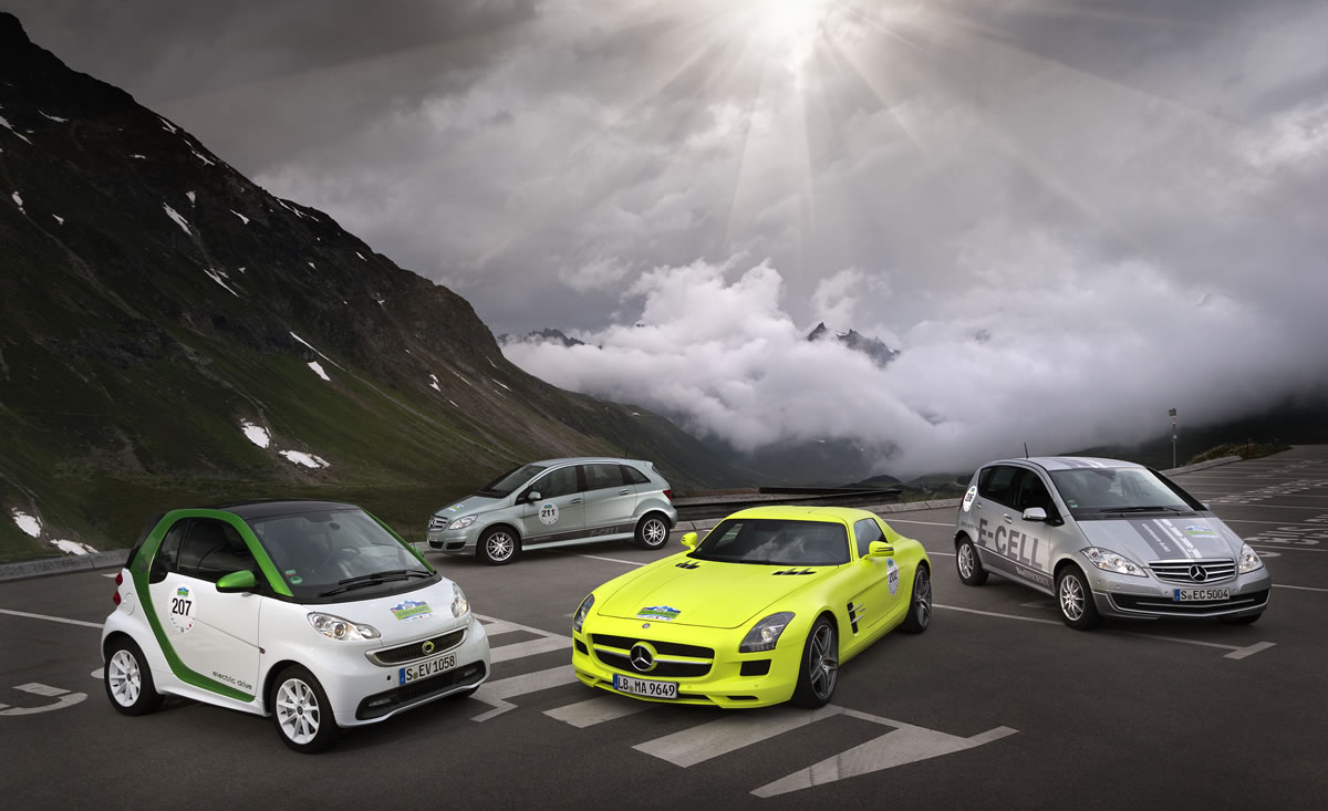 Mercedes Electric Cars at Silveretta E-Car Rallye