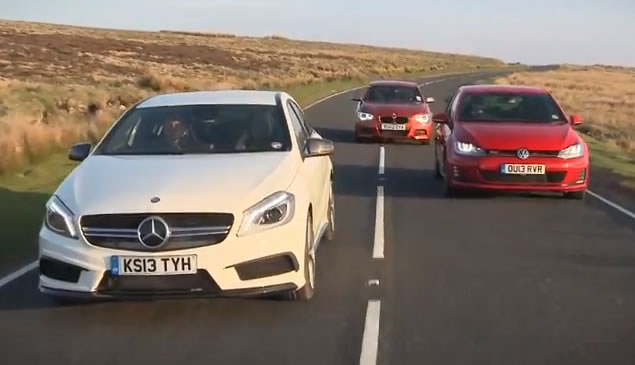 Mercedes A45 AMG vs. BMW M135i vs. Volkswagen Golf GTI