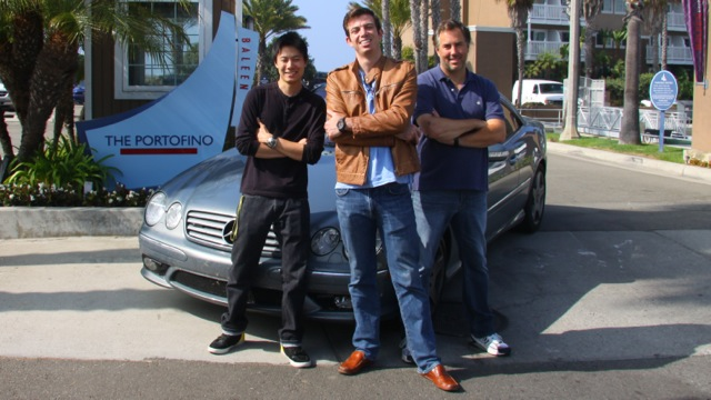 Dave Black, Ed Bolian and Dan Huang pose in front of the car they would use to attempt to break the record. Bolian is the leader and main driver, Black acted as the co-driver and Huang was the team's spotter -- keeping an eye on the car's considerable technology while looking out for obstacles.
