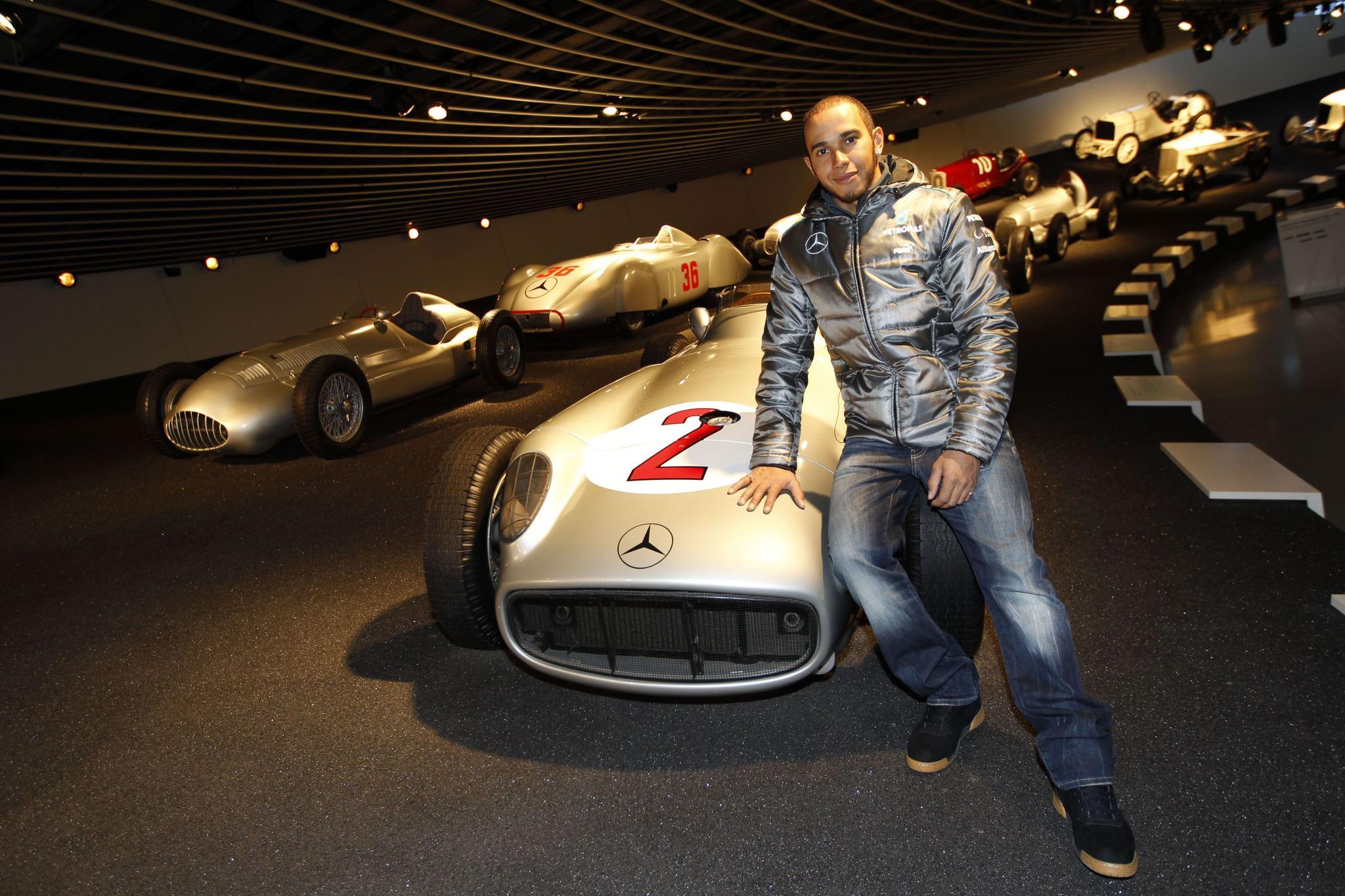 Lewis Hamilton Makes First Appearance as a Silver Arrow Driver stuttgart museum