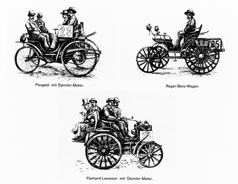 In the world's first automobile race from Paris to Rouen (126 kilometers) in 1894, cars with Daimler engines emerged as the winners. Benz cars also competed in this race successfully.