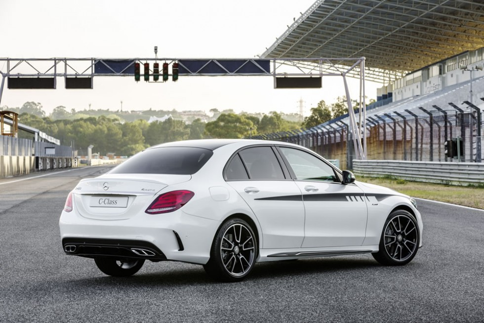 Exclusive AMG Accessories for the C-Class: AMG Sport stripes, AMG Rear apron trim with diffuser-look, AMG Additional rear flics, AMG Side-sill extensions
