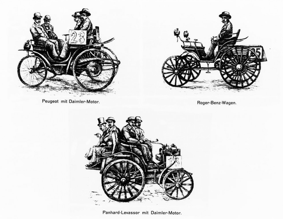 In the world's first car race from Paris to Rouen on 22 July 1894 over a distance of 126 kilometres, cars powered by Daimler engines won first prize. A vehicle from Benz also successfully took part in the race and was awarded fifth prize.
