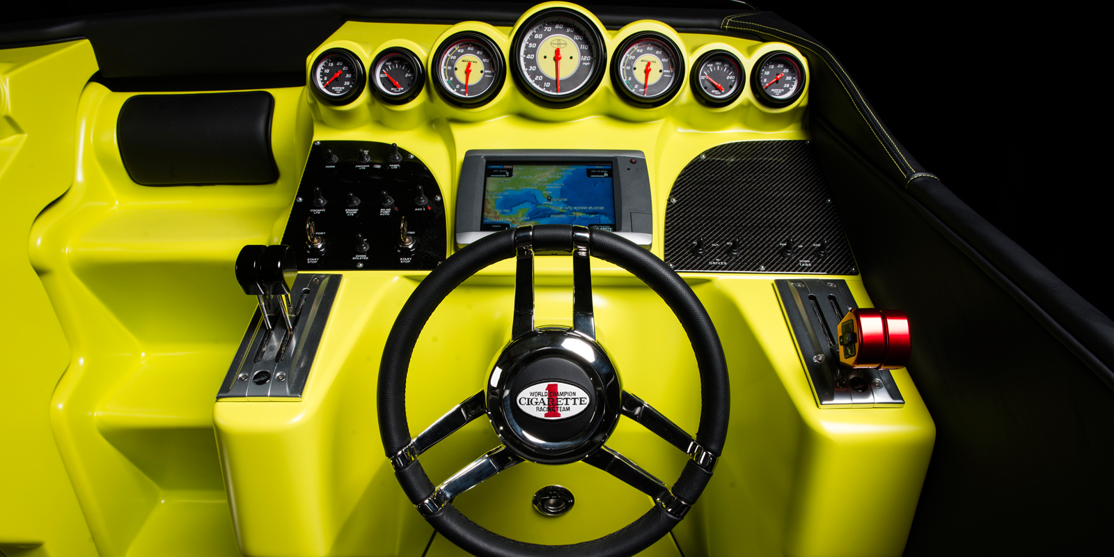 SLS AMG Coupe Electric Drive Cigarette Boat steering wheel