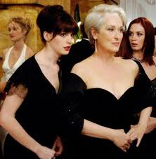 "Young assistant Andy (Anne Hathaway) is at the beck and call of Editor Miranda (Meryl Streep) in ""The Devil Wears Prada."""