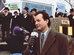 Bill Murray plays a weatherman who keeps reliving Groundhog Day over and over again.