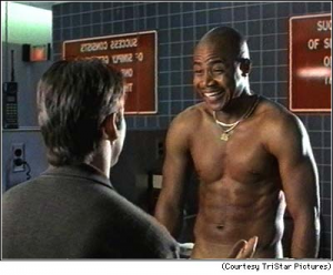 Cuba Gooding Jr., in his Academy Award-winning role, plays Jerry Maguire's last remaining client.