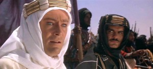 Peter O' Toole (with Omar Sharif), as British Lt. T.E. Lawrence in Lawrence of Arabia.