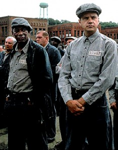 Morgan Freeman as Red, and Tim Robbins as Andy, in The Shawshank Redemption.