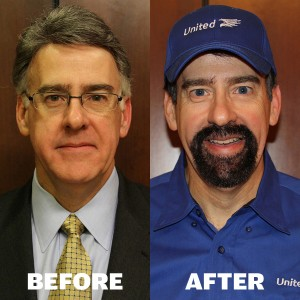 "Before and after photos of United Van Lines CEO Rich McClure, the ""boss"" on last week's Undercover Boss."