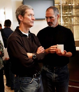 Steve Jobs with Tim Cook (right), his successor as Apple CEO.
