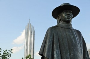 Statue of rocker Stevie Ray Vaughan in Austin, Texas.
