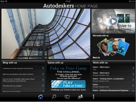 Autodeskers Mobile App Home Page