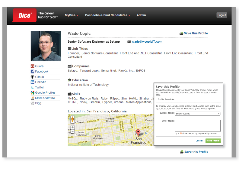 Dice open web profile