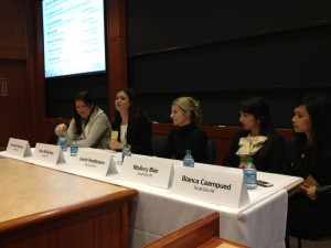 Laurie Ruettimann, third from right, speaking at Harvard Business School