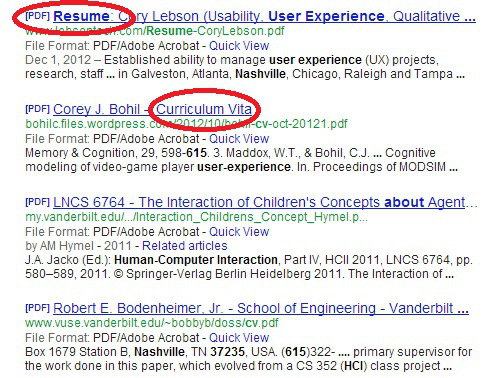 use boolean to search for resumes on personal websites