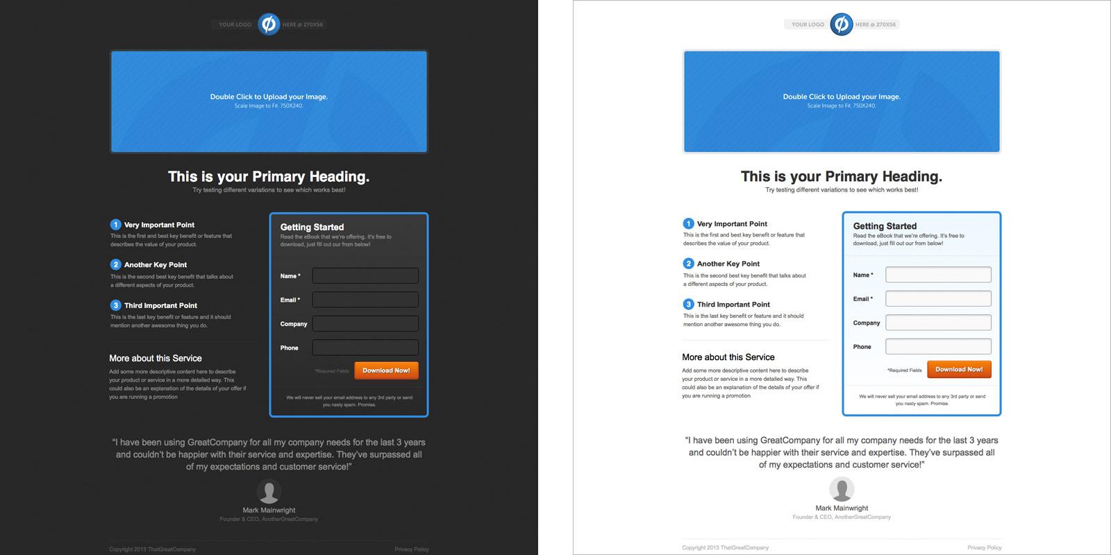 lead generation landing page templates - Khafre