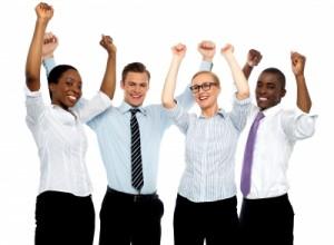 Workers cheering - freedigital