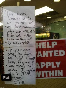 Angry employee note