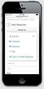 Jobvite mobile resume screenshot
