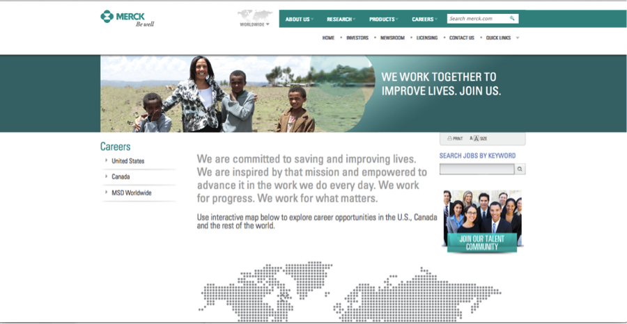Merck revised career site