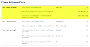 FB Privacy settings