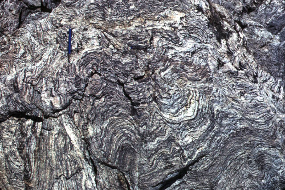 "Compositionally-layered gneiss (""nice""), San Bernardino Mountains, southern California, U.S. Source: geomaps.wr.usgs.gov/archive/socal/geology/transverse_ranges/index.html"