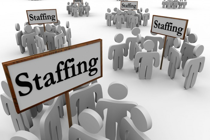 staffing signs and workers