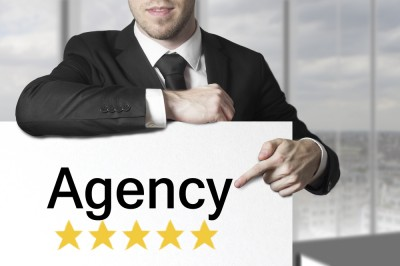 Agency poster and man