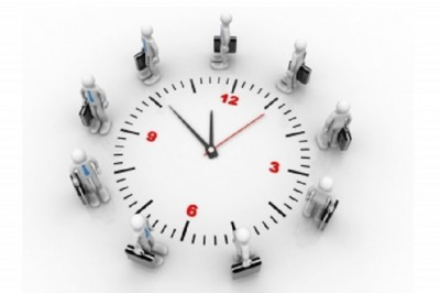 clock with businesspeople-free-cooldesign