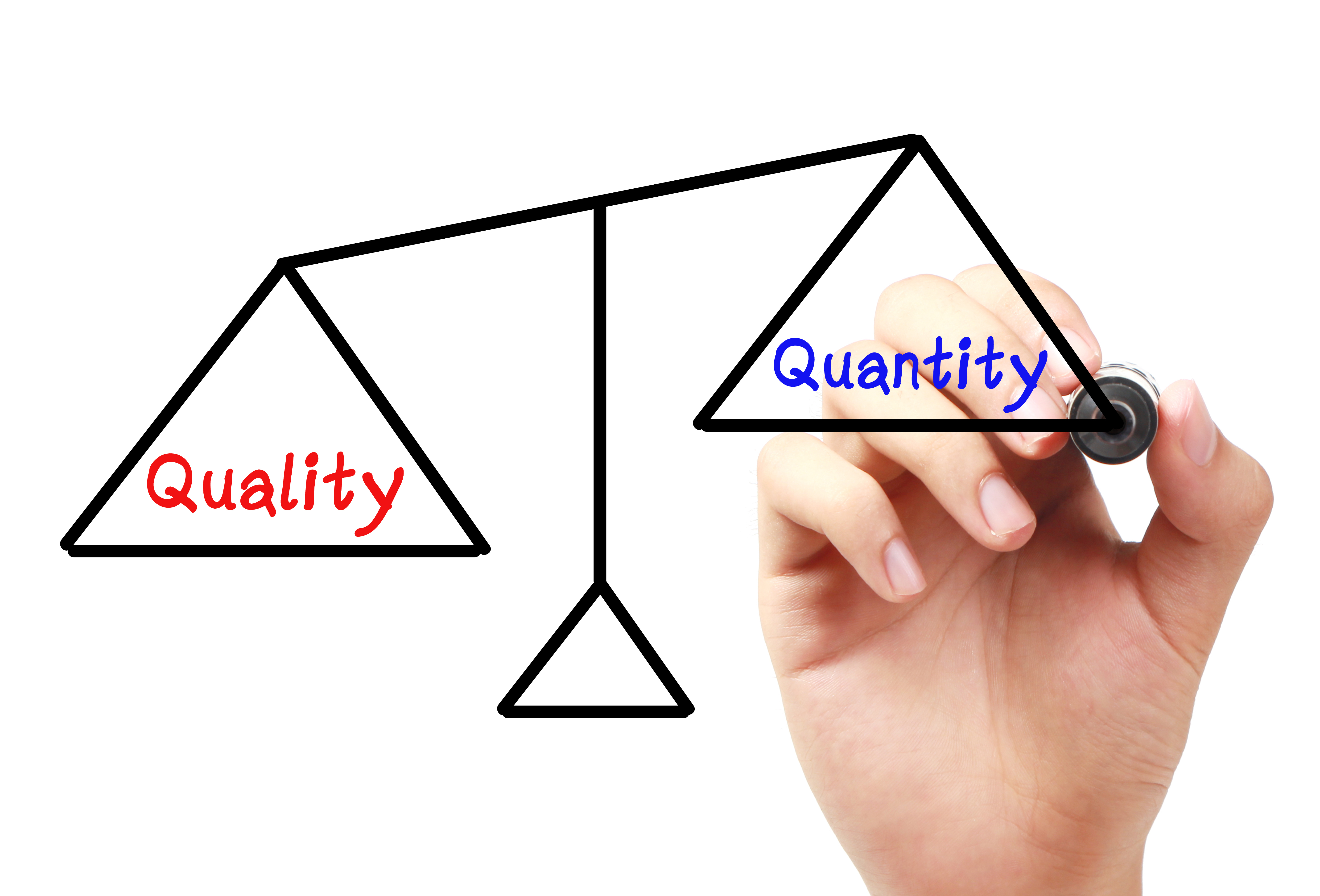 quality and quantity Quality over quantity - it's a simple concept taught to us throughout our formative years - but it's one that fits like a square peg in a round hole in today's corporate environment the reason that it's so hard to emphasize quality over quantity is.