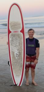 David Lee and surfboard