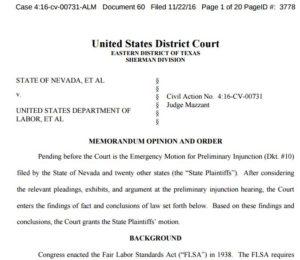 Overtime injunction