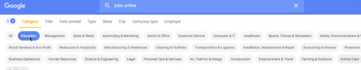 Google Job Search Categories