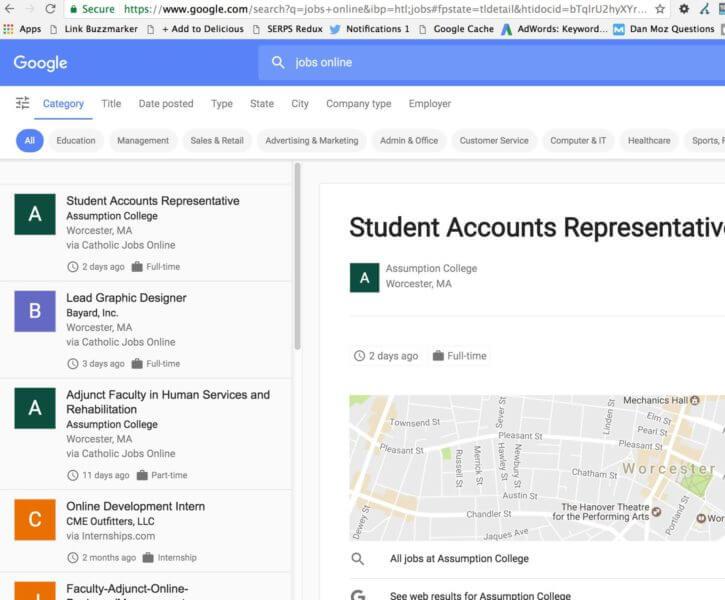 Google Job Search Screenshot