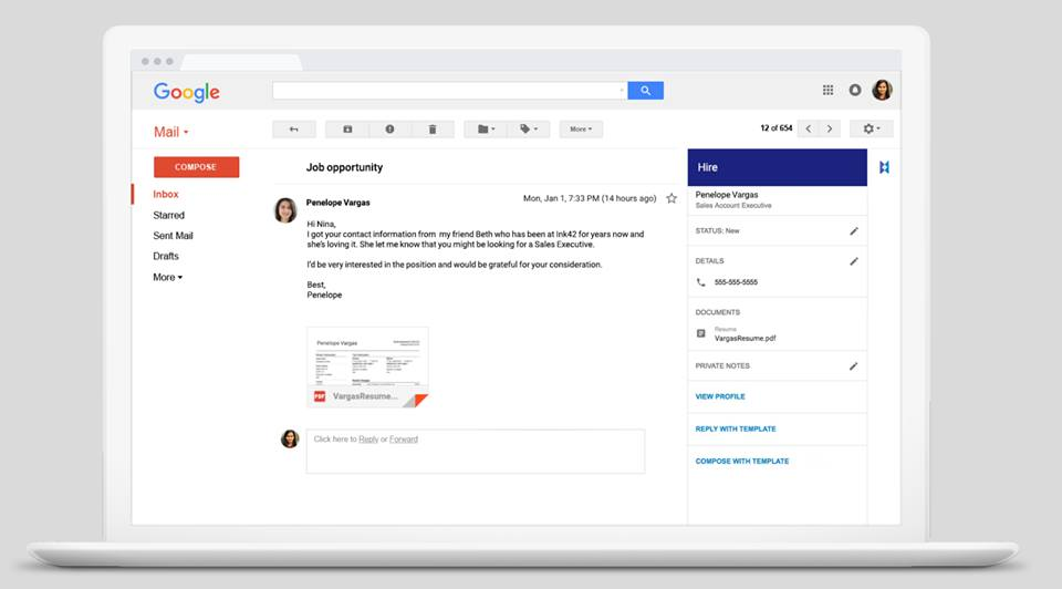 Google Hire Gmail Integration