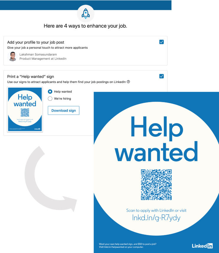 LinkedIn Targets SMBs With 'Help Wanted' Sign Download Option - ERE