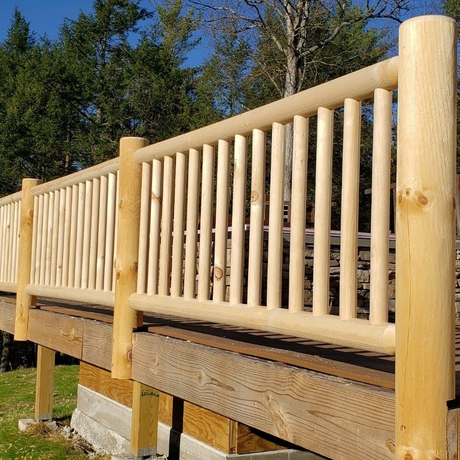 "Round Railings: 6"" Posts, 3.5"" Top and Bottom, 2"" Spindles"