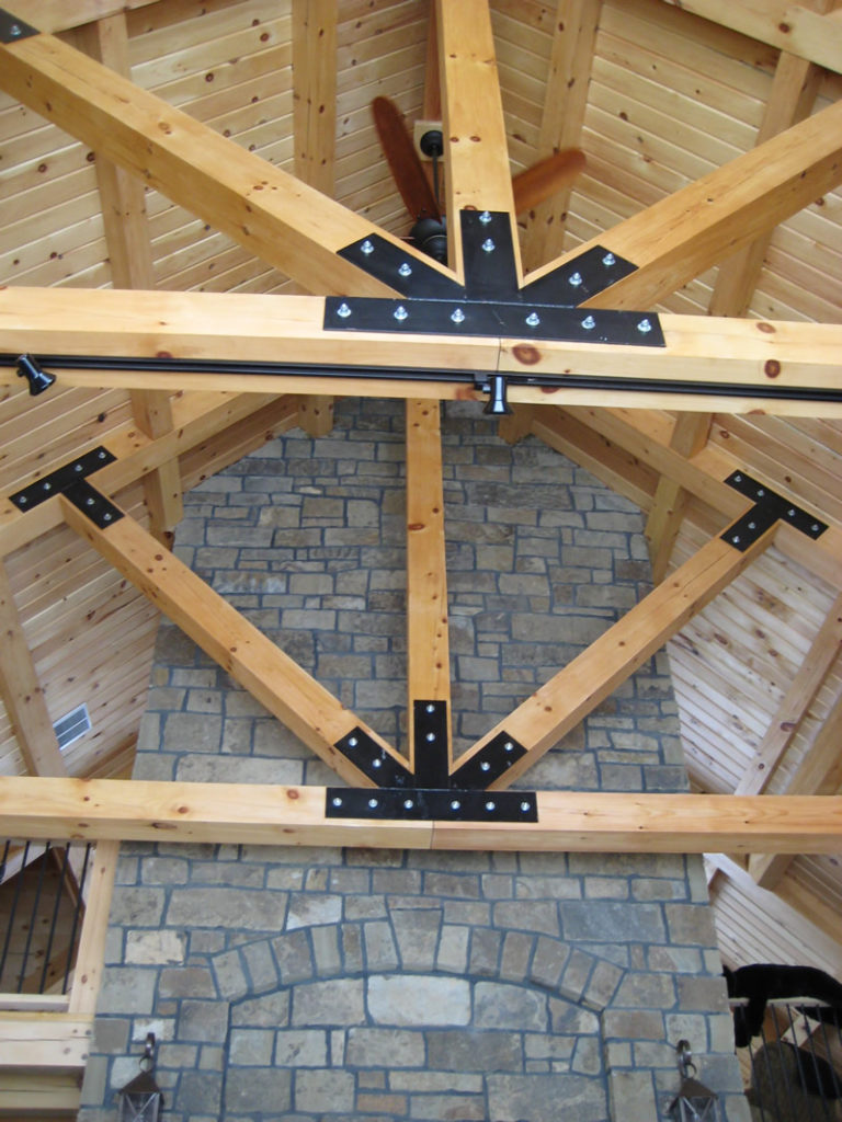 Surfaced Timber Trusses with plates & hardware.