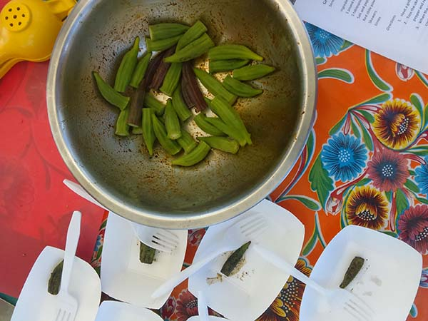 Grilled Okra with Red Chile and Lime