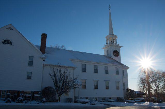 First Church, Shrewsbury, MA in the snow