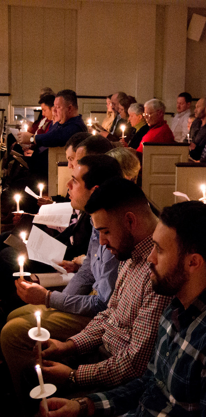 Candlelight service at First Congregational Church, Shrewsbury, MA