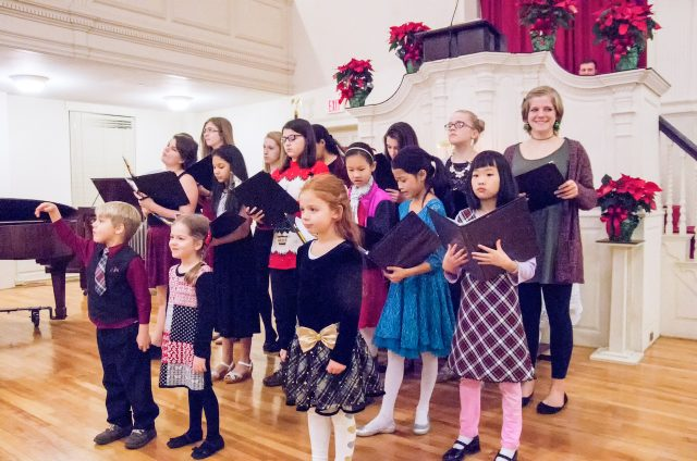 Youth and Children's Choirs sing on Christmas Eve at First Congregational Church, Shrewsbury, MA