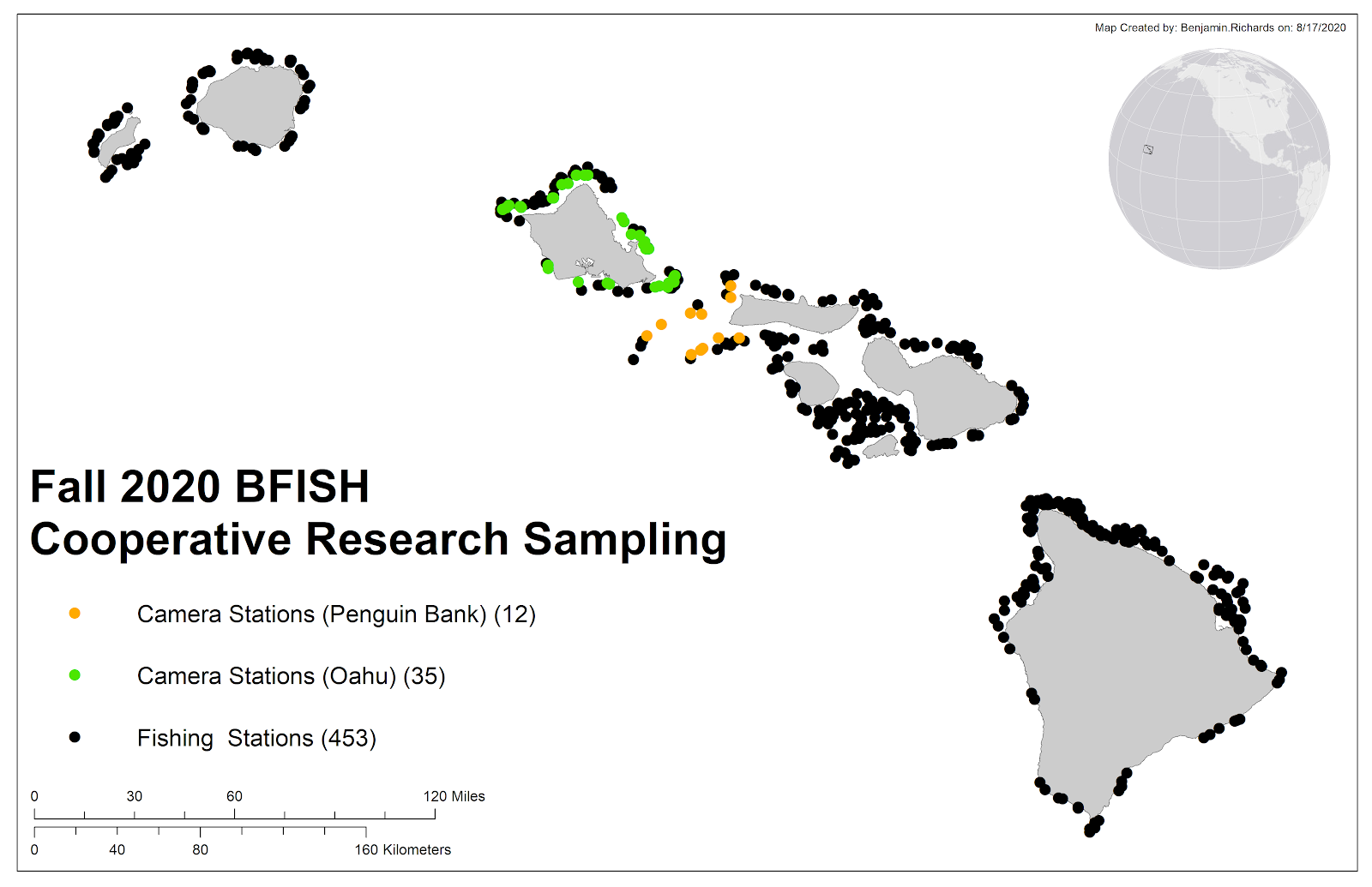 A map showing the locations of the fall 2020 BFISH sampling stations, including fishing and camera stations.
