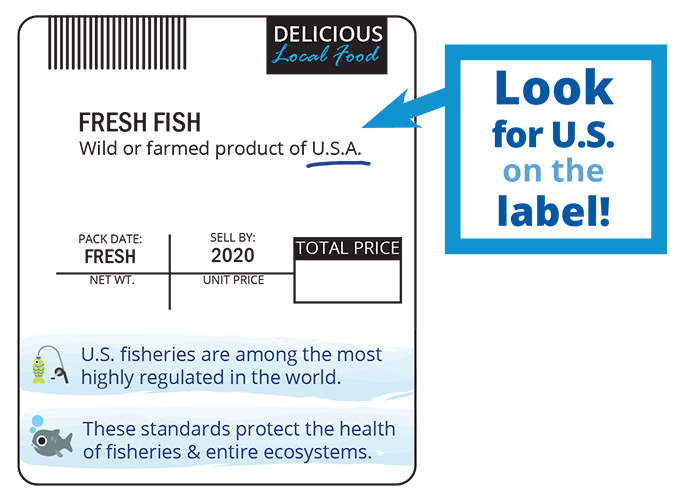 Illustrated scale label for seafood packaging.